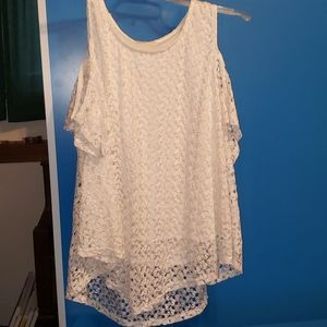 White lacey cold shoulder blouse
